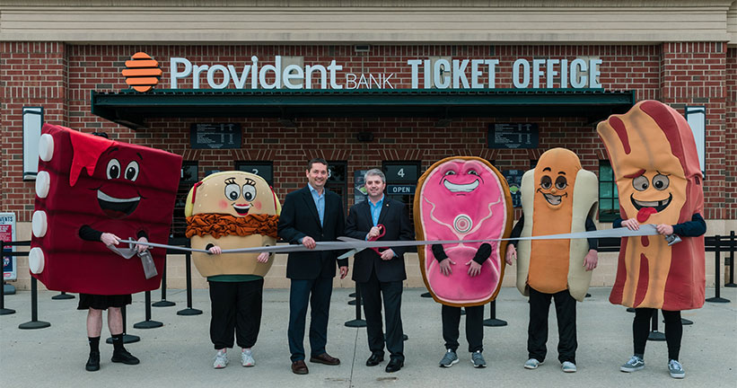 Ribbon Cutting in front of ticket office